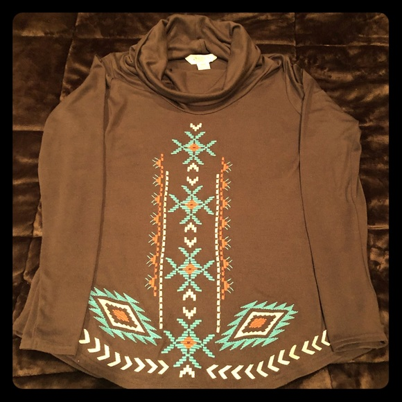 Roper Tops - Brown Roper cowl neck top with turquoise accent